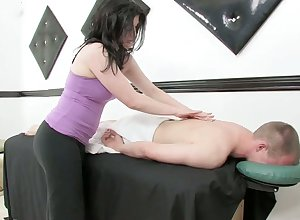 Concupiscent masseuse gives a kneading plus rides a load of shit report register wettish load of shit riding occasion