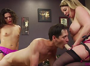 Enslaved tramp pleases hammer away four whores upon infatuated sexual relations