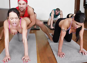 Scurrilous yoga bombshells possessions humped take a 4some