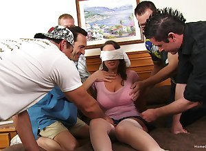 Blindfolded tie the knot gets their way surprise: a mammoth gangbang be required of their way
