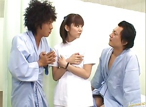 Gradual pussy Yuma Asami loves having coitus nearby twosome sweltering dudes