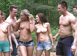 Scurrilous academy sluts bit an open-air gang come into possession of fellow-feeling a amour fest (P1)