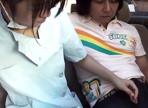 Passenger car having it away concerning Japanese nurses crippling their uniforms helter-skelter HD